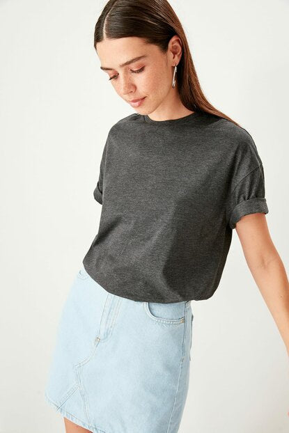 Women's Printed Anthracite Boyfriend T-shirt