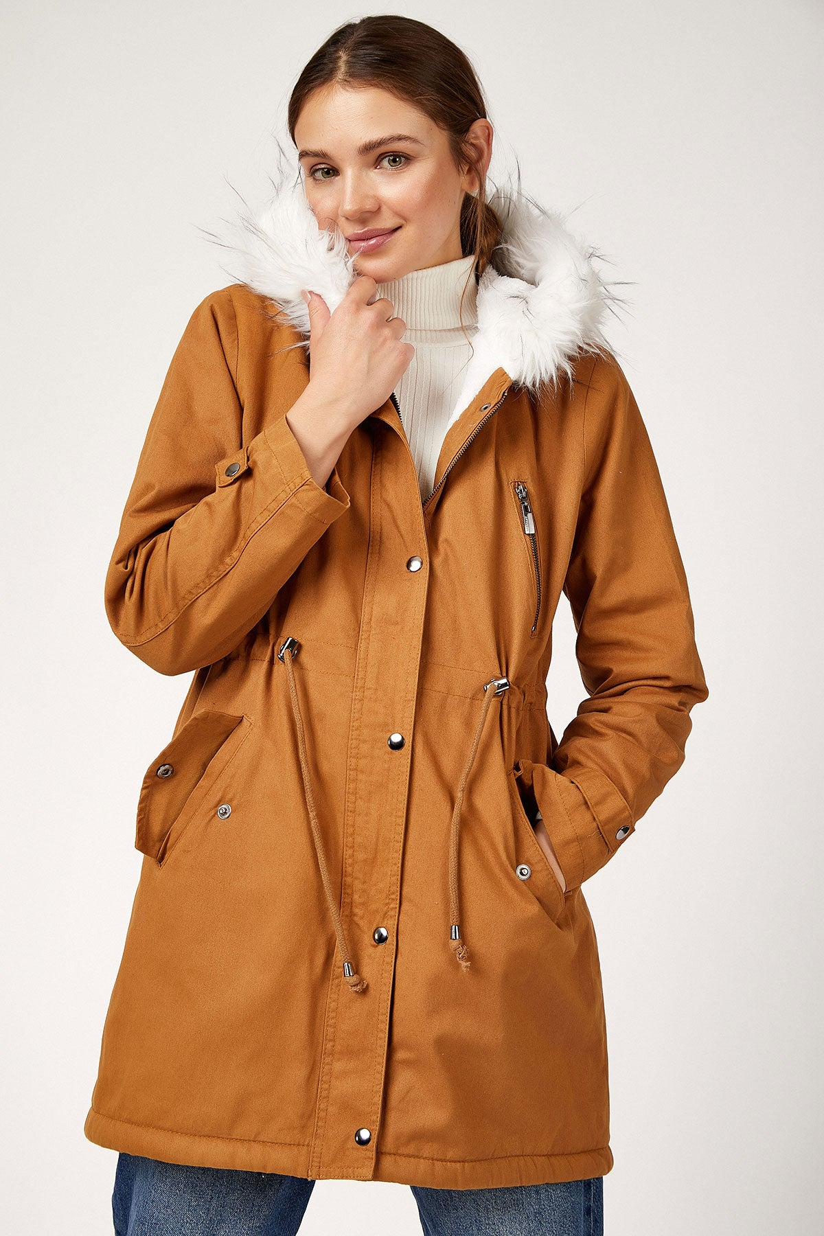 Women's Furry Hooded Brown Coat