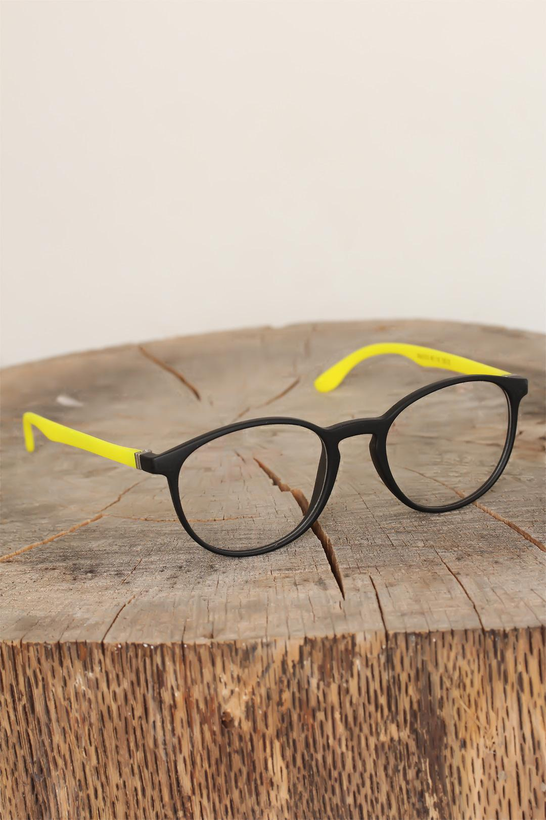 Women's Black Oval Frame Yellow Arms Glasses