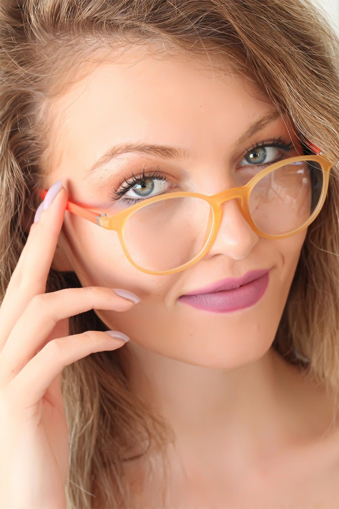 Women's Orange Arms Yellow Oval Frame Glasses