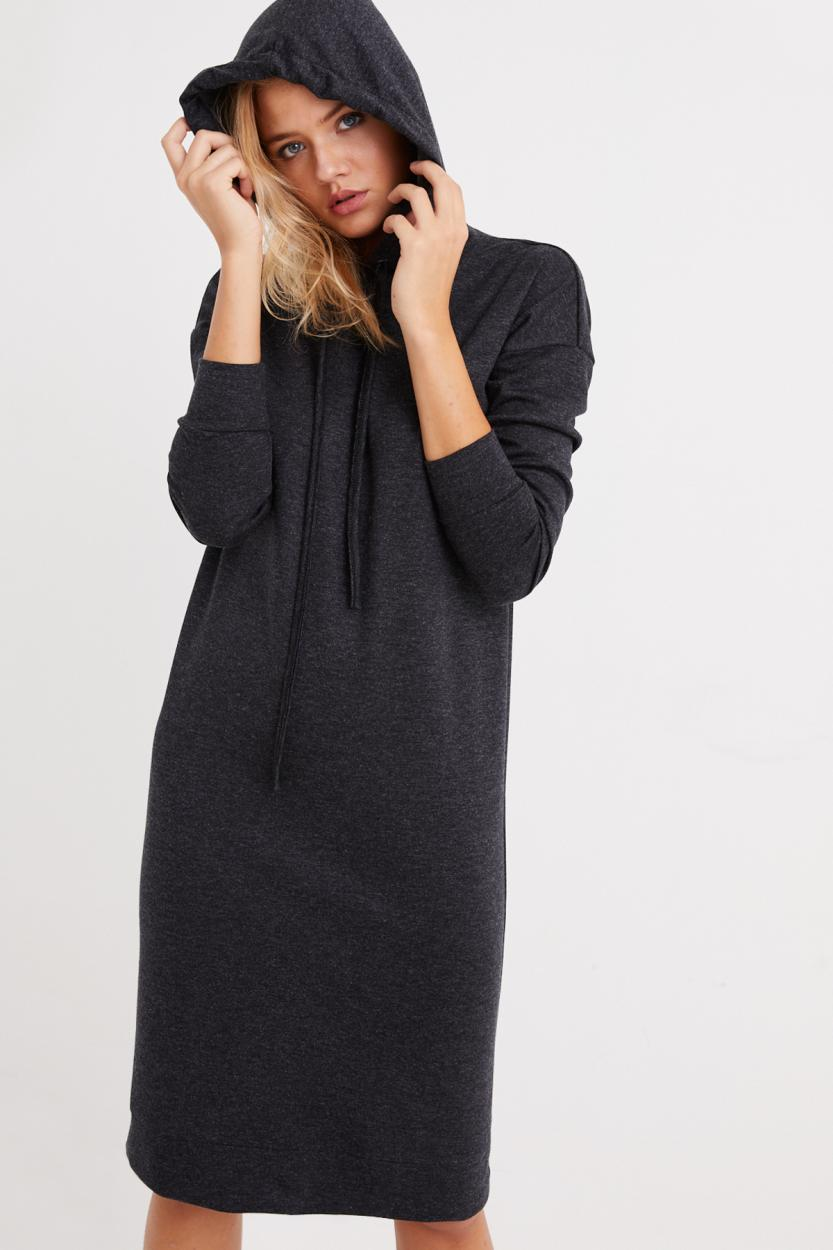 Women's Hooded Anthracite Short Sweat Dress