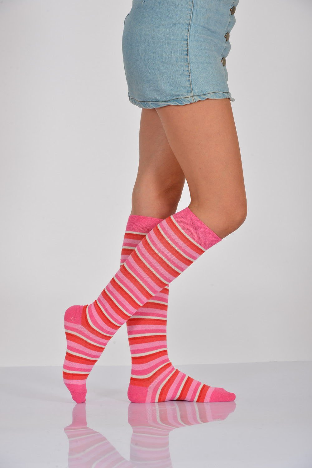 Women's Striped Long Pink Socks- 3 Pairs