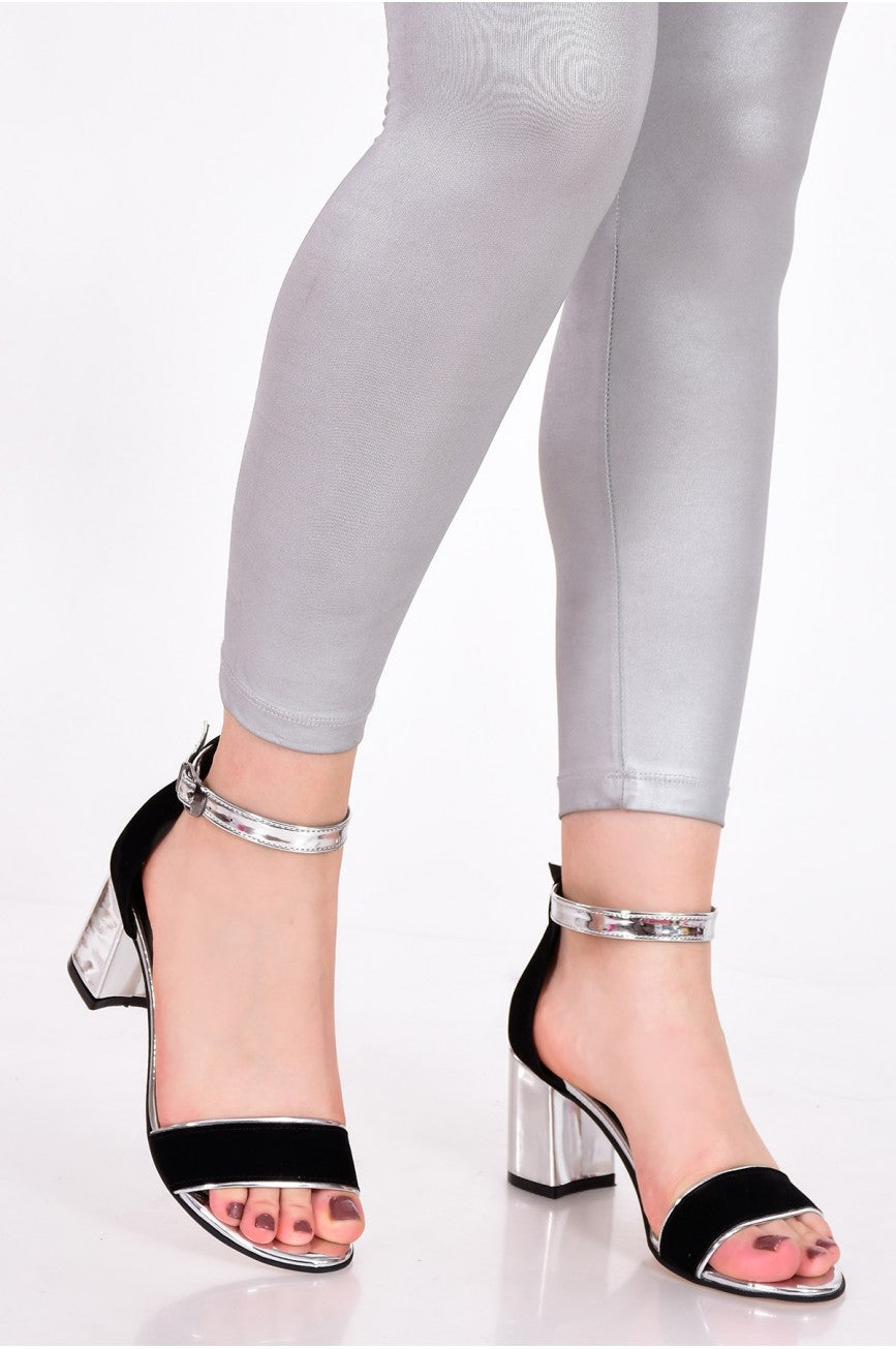Women's Black- Silver Heeled Sandals