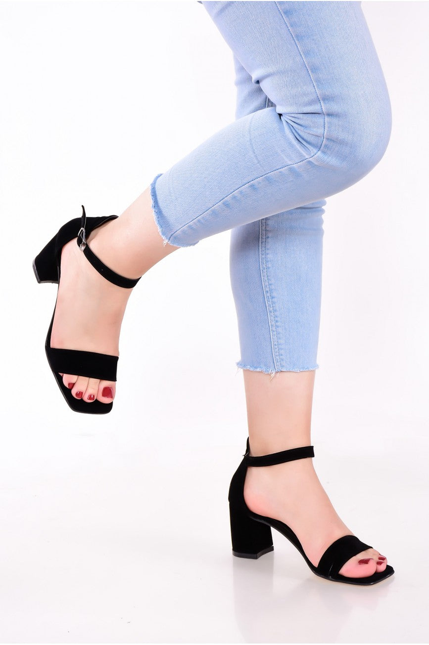 Women's Black Suede Heeled Shoes