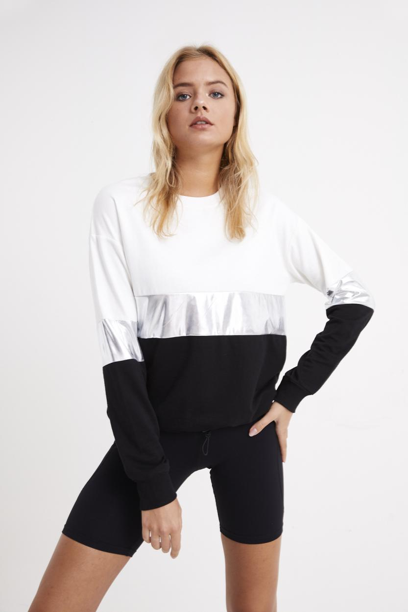 Women's White - Black Color Block Sweatshirt