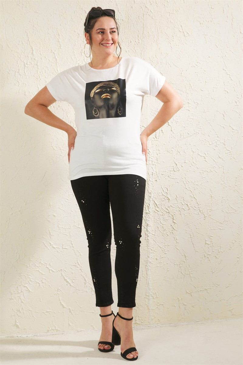Women's Oversize Printed White T-shirt