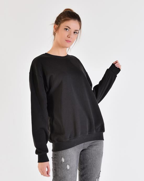 Women's Crew Neck Black Sweatshirt