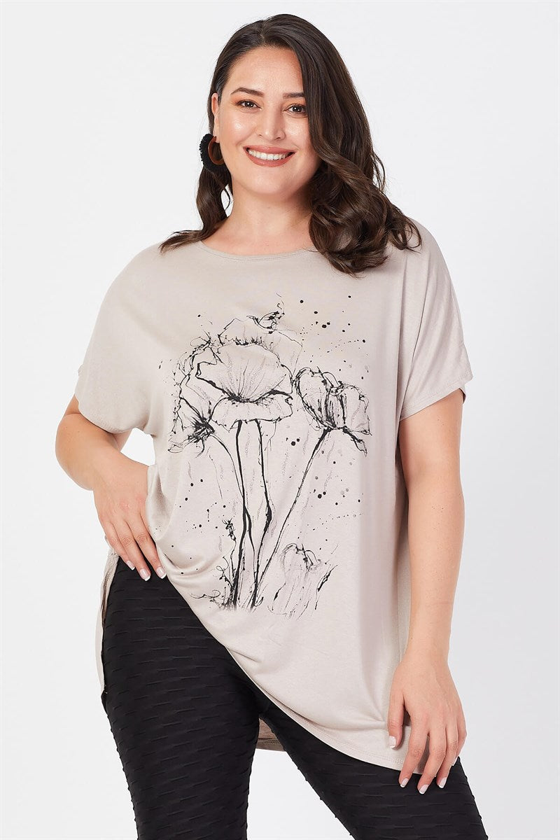 Women's Oversize Floral Print Shabby Beige T-shirt