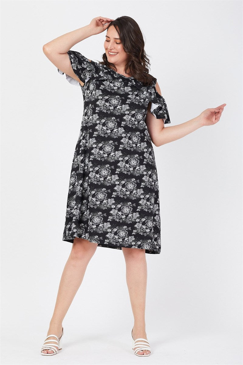 Women's Oversize Shoulder Detail Floral Pattern Black Viscose Short Dress