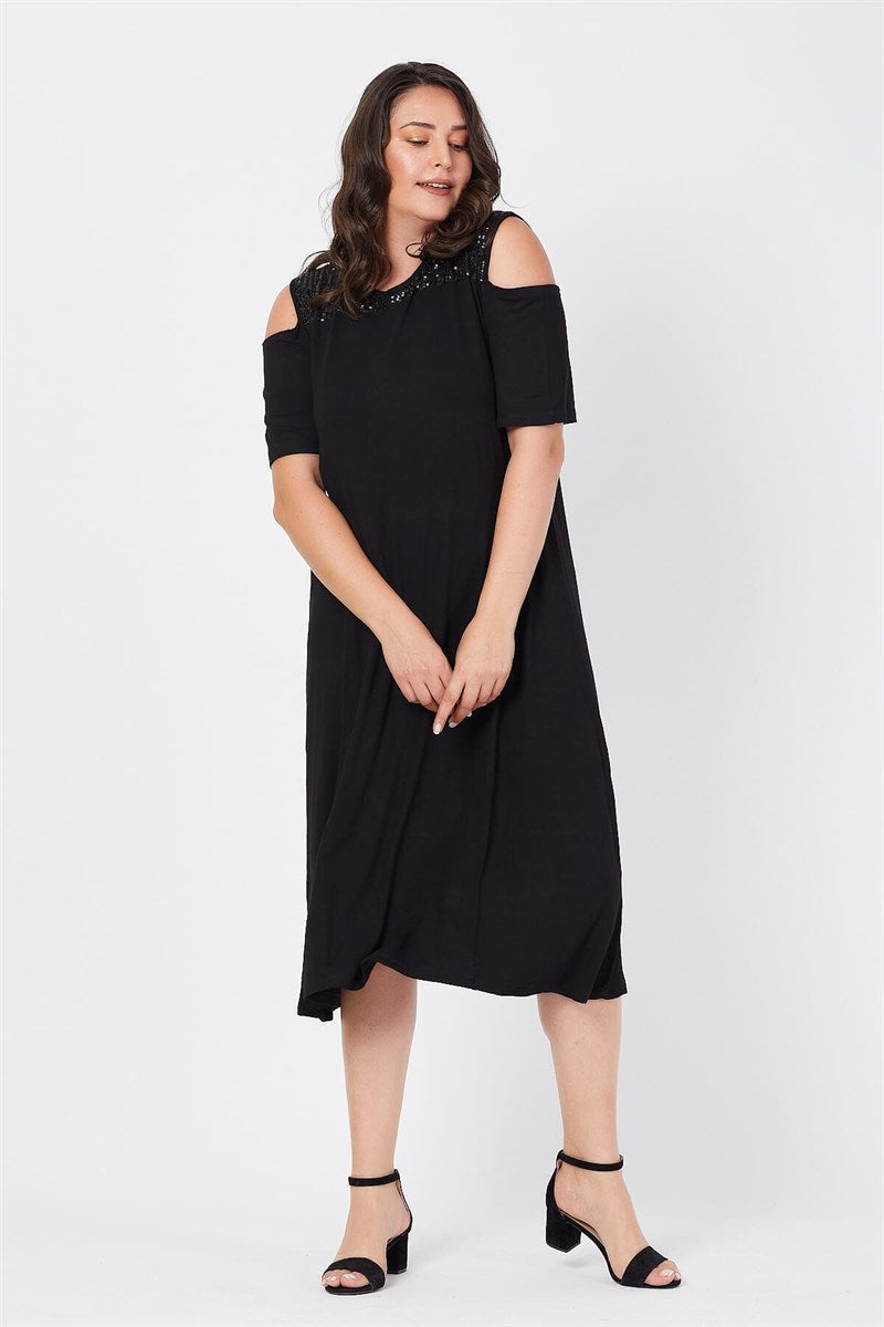 Women's Oversize Sequin Embroidered Black Midi Dress