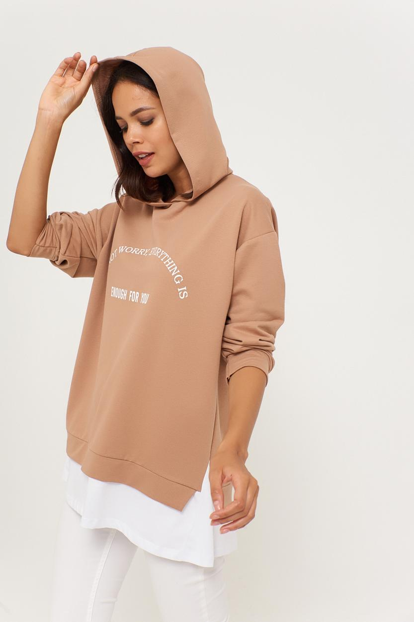 Women's Printed Camel Sweatshirt