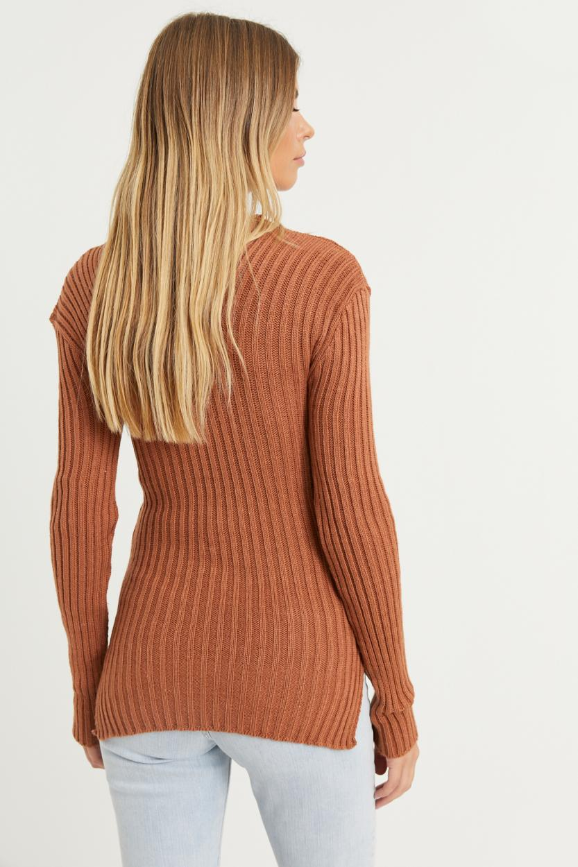 Women's V Neck Camel Sweater