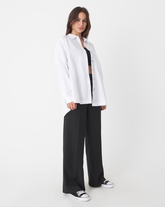 Women's Pocket Black Wide Legs Pants