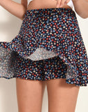 Women's Patterned Navy Blue Shorts Skirt