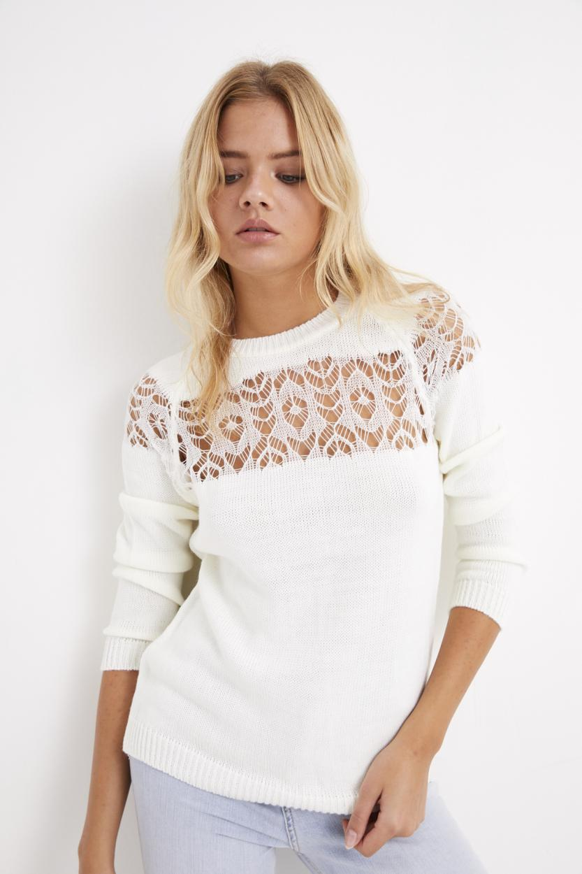 Women's Ecru Hemstitch Sweater