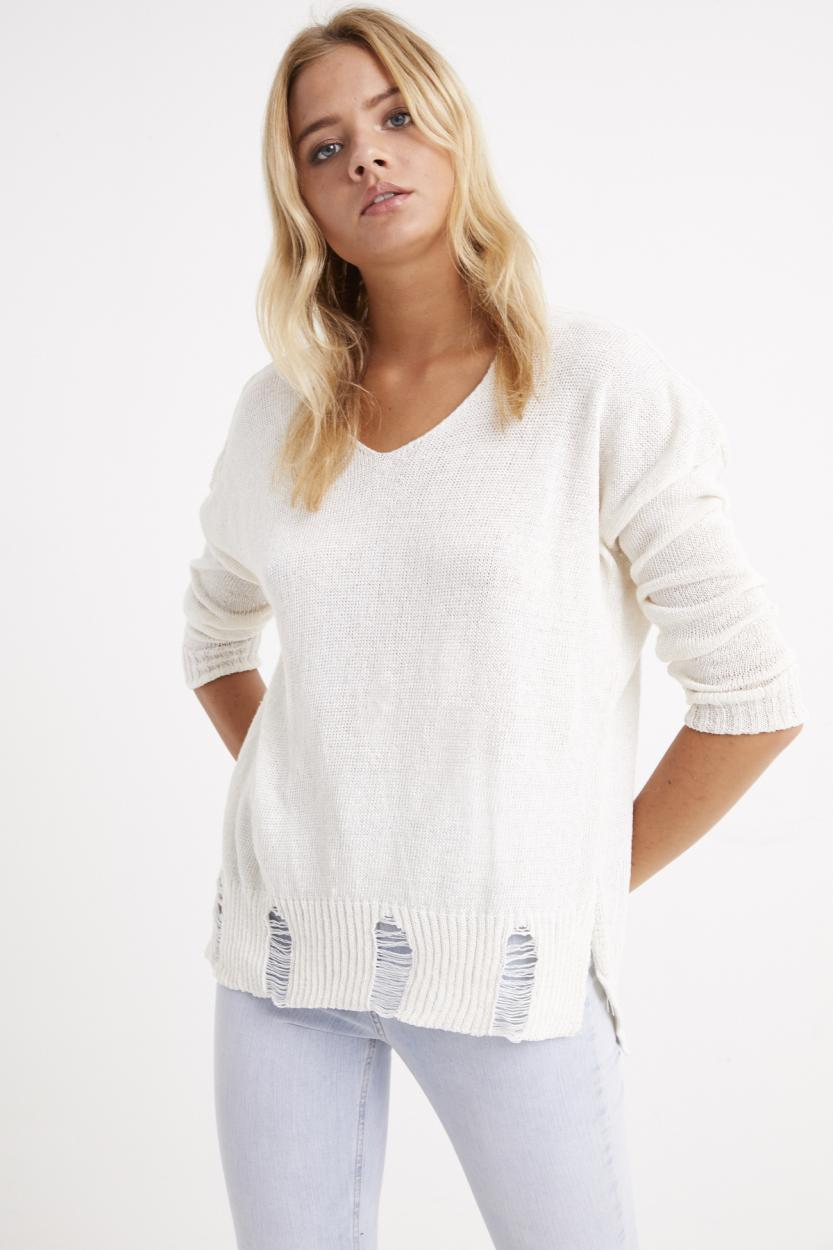 Women's Ripped Hem Ecru Thin Tricot Blouse