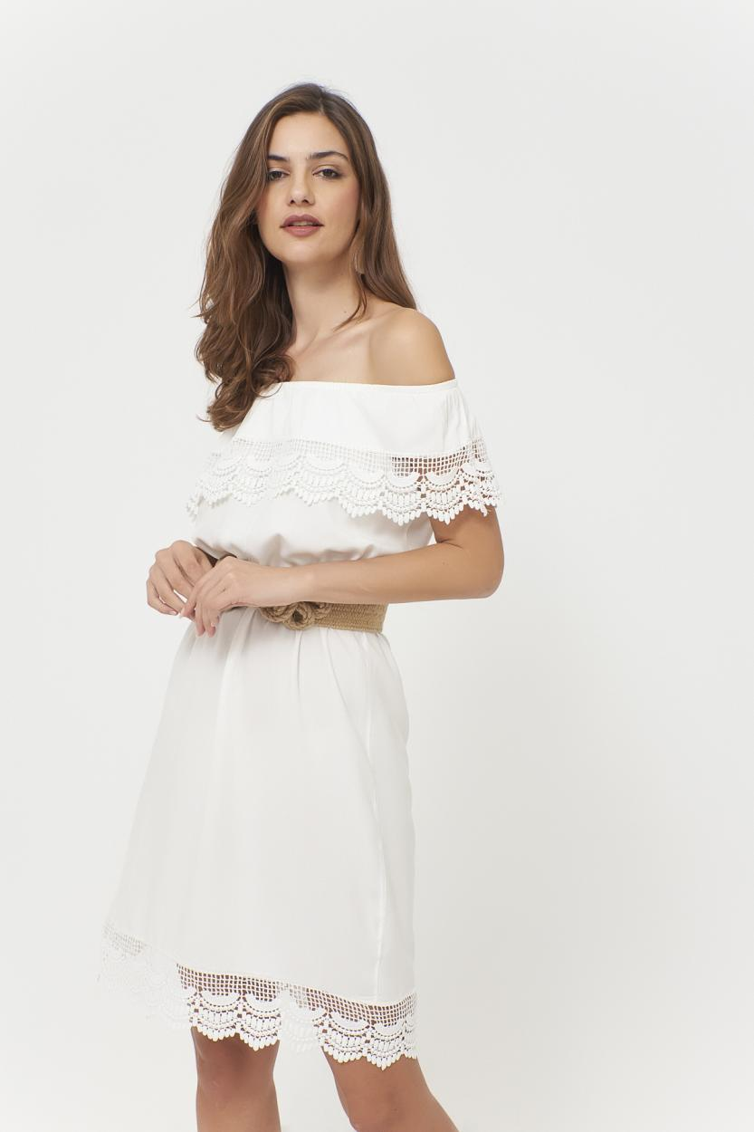 Women's Off Shoulders Lace Detail White Short Dress