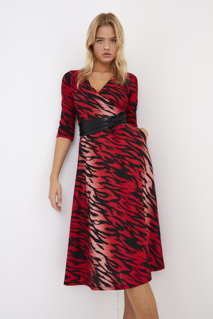 Women's Wrap Belted Zebra Pattern Red Short Dress