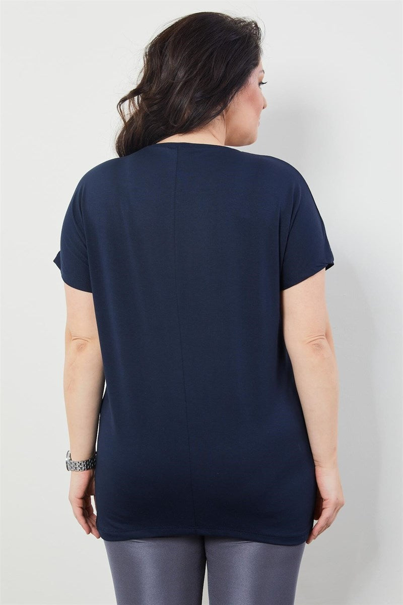 Women's Oversize Printed Navy Blue Blouse