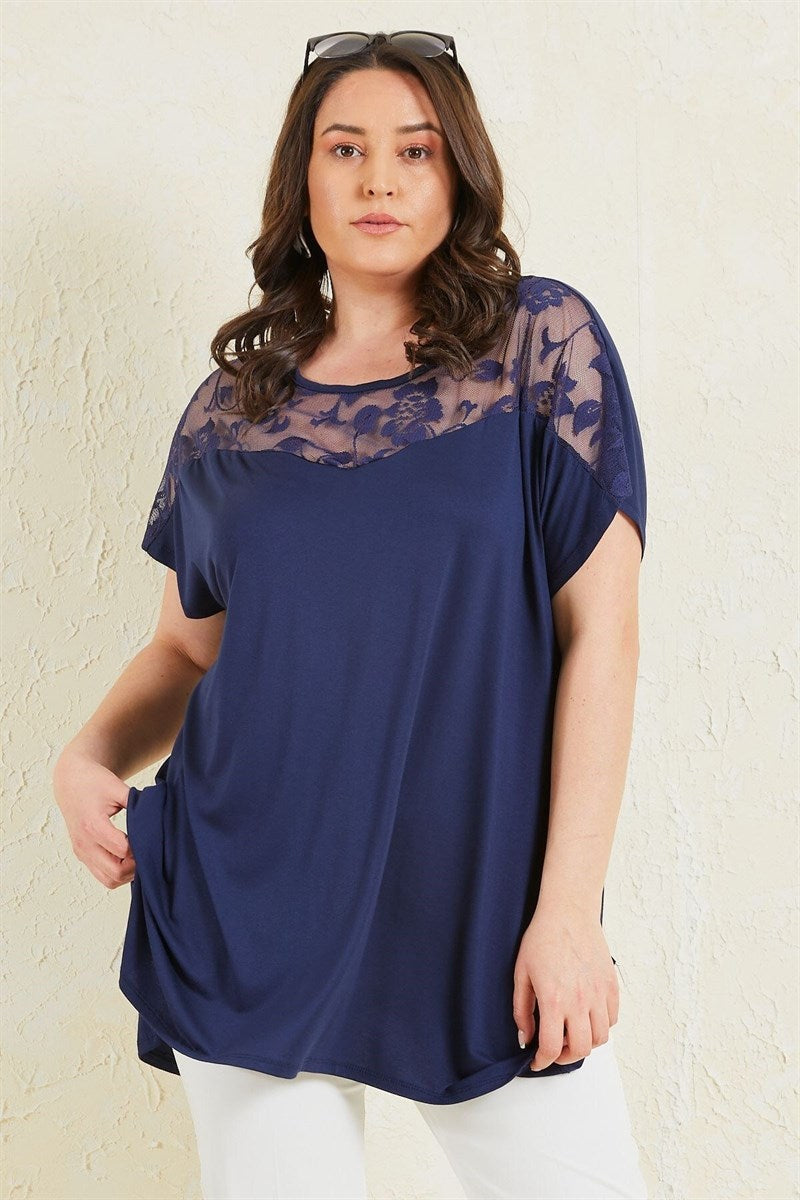 Women's Oversize Lace Detail Shabby Navy Blue Blouse