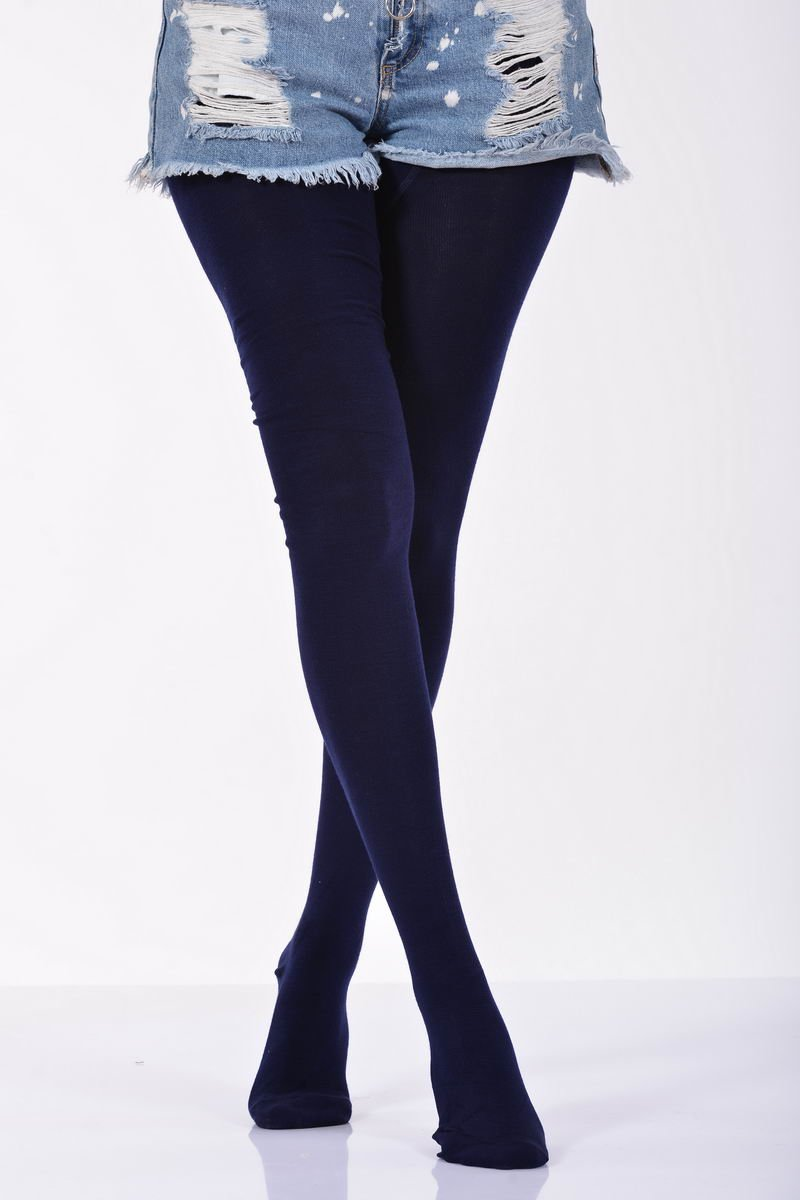 Women's Plain Navy Blue Pantyhose- 3 Pairs