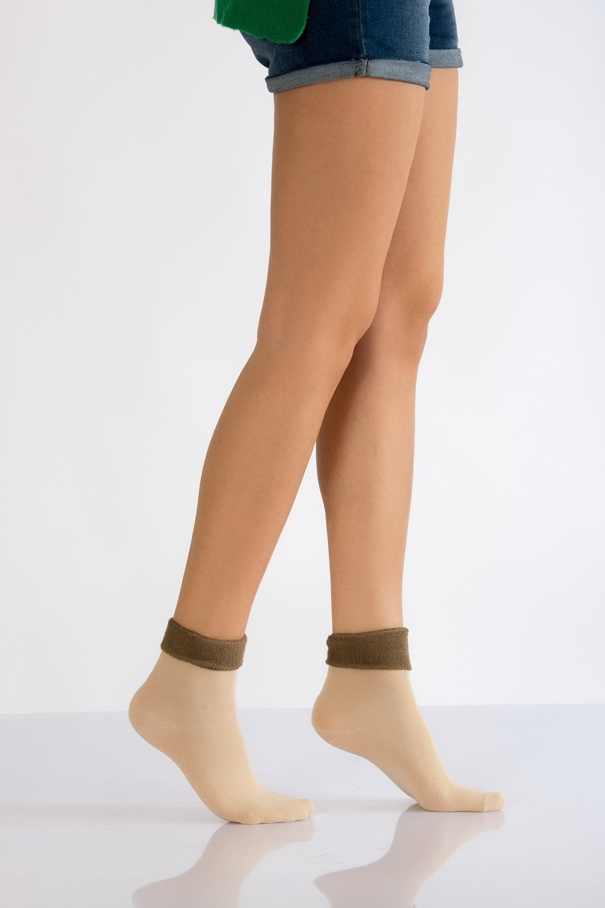 Women's Beige Boot Socket Socks- 3 Pairs