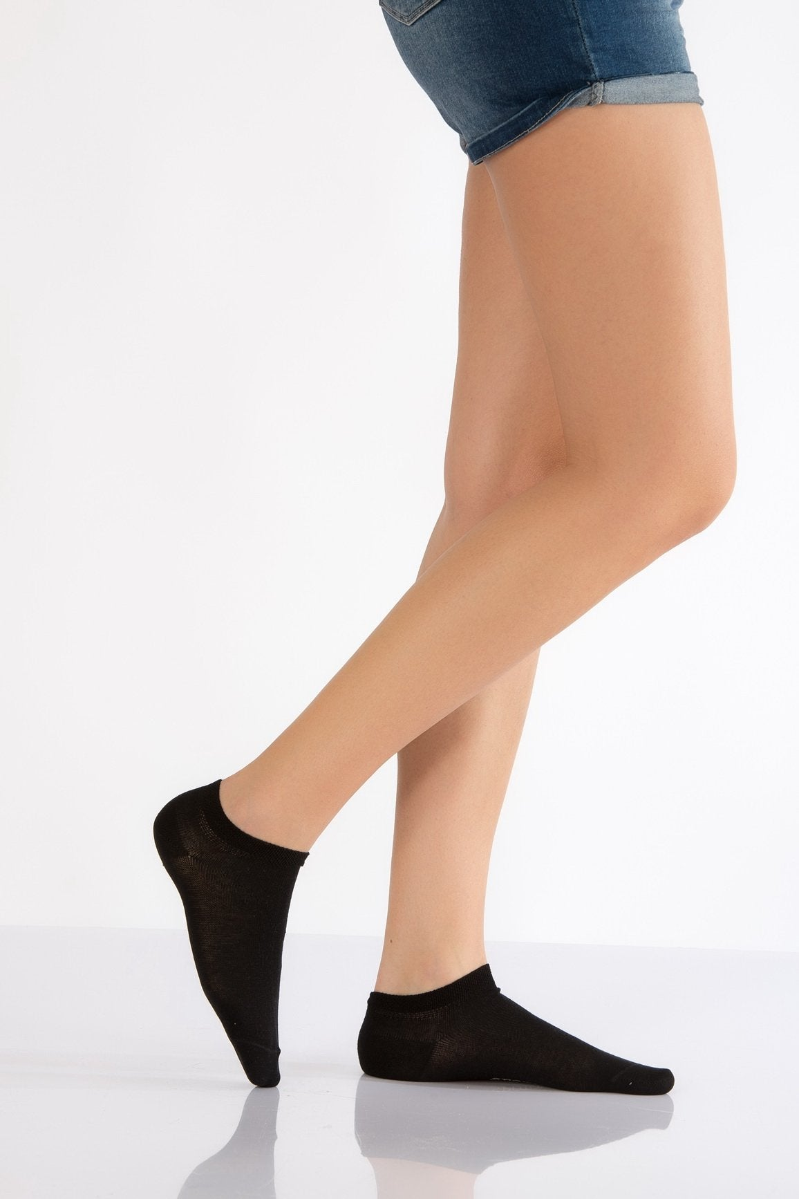 Women's Plain Black Booties Socks- 3 Pairs