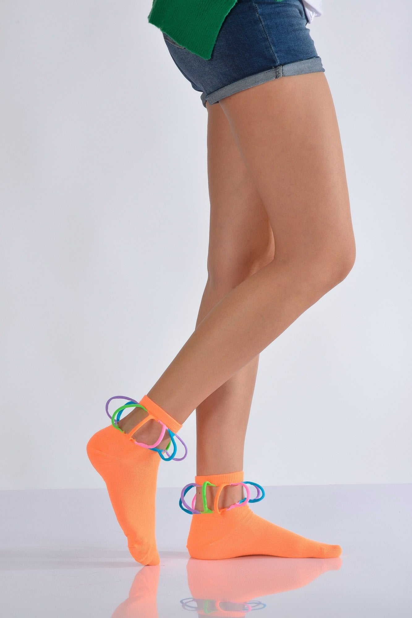 Women's Special Design Neon Orange Socks- 3 Pairs