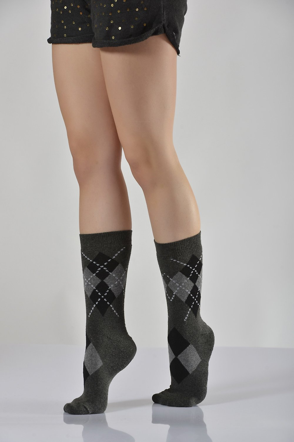 Women's Plaid Grey Socket Socks- 3 Pairs
