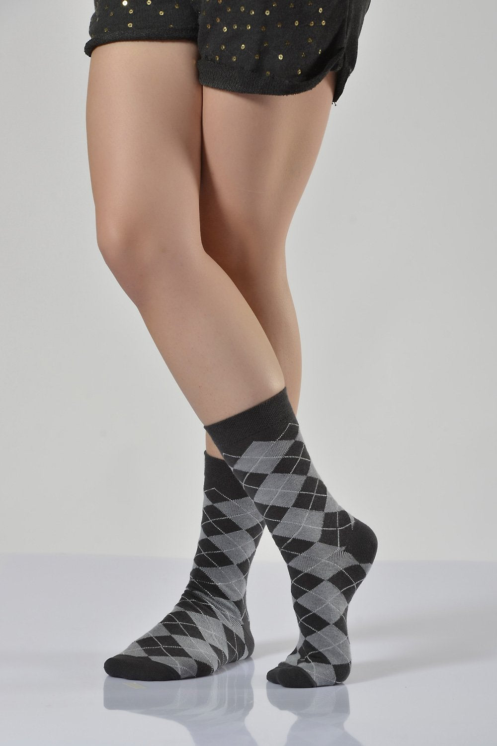 Women's Plaid Pattern Dark Grey Socket Socks- 3 Pairs