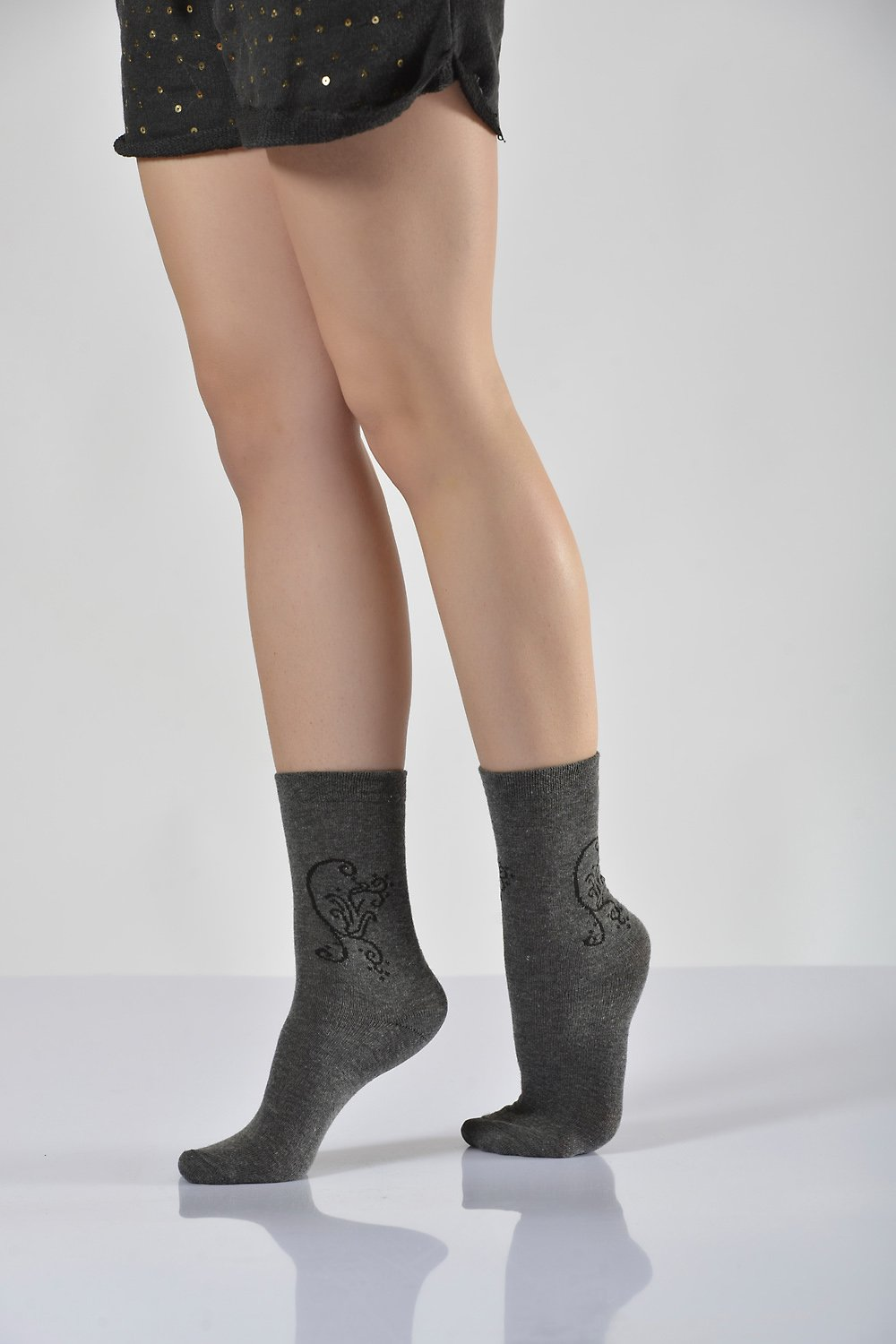 Women's Patterned Dark Grey Socket Socks- 3 Pairs