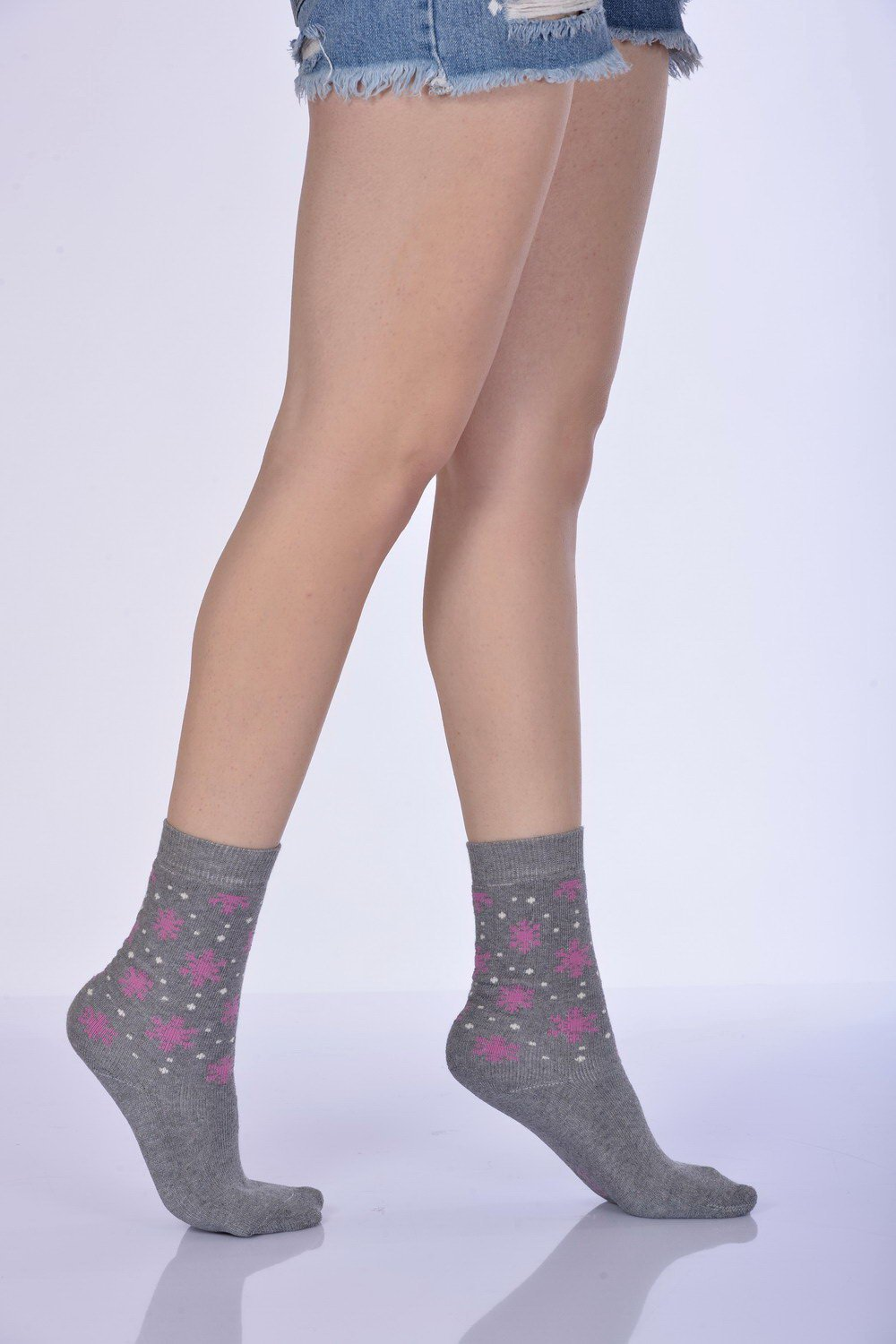 Women's Printed Grey Winter Socket Socks- 3 Pairs