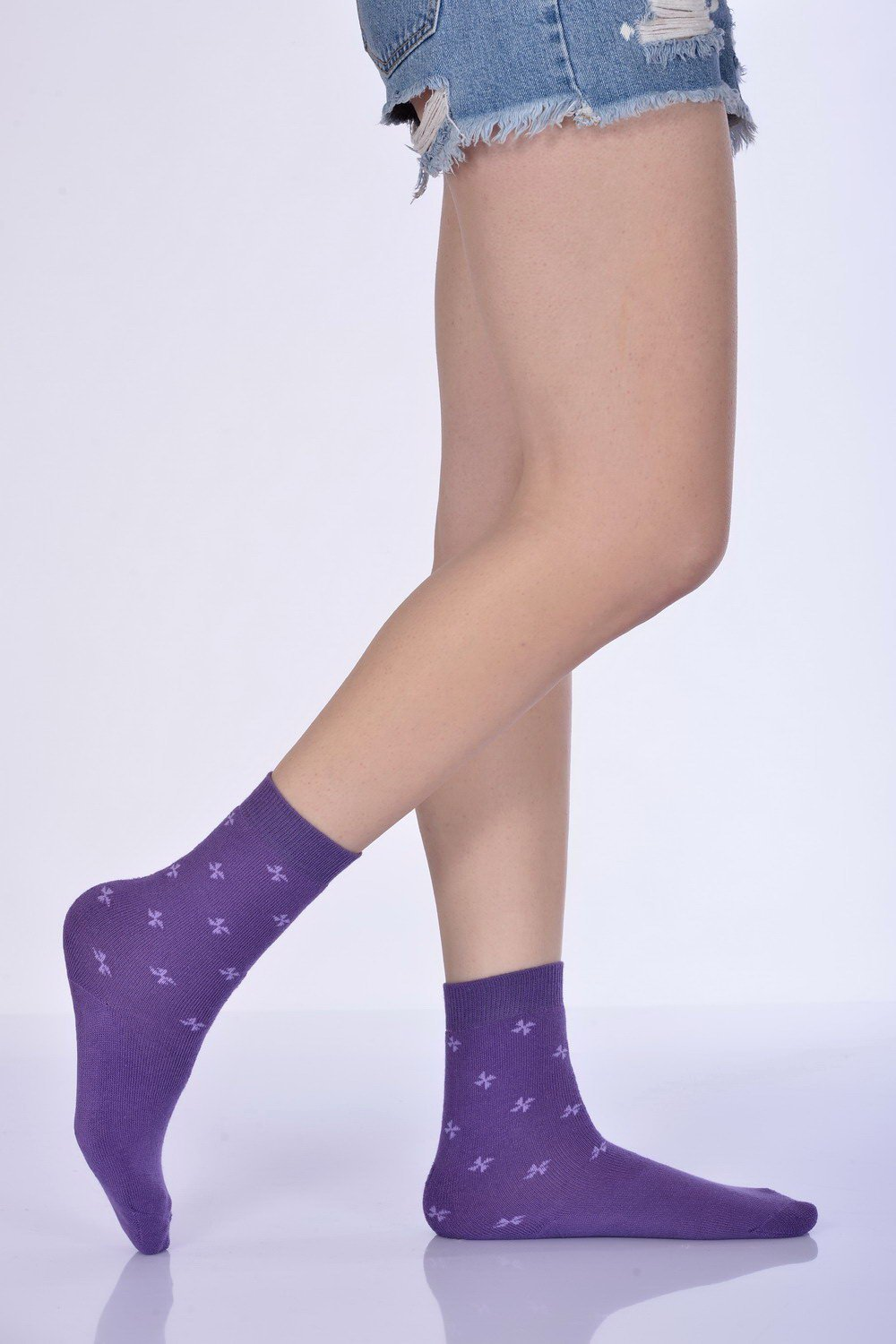 Women's Purple Winter Socket Socks- 3 Pairs