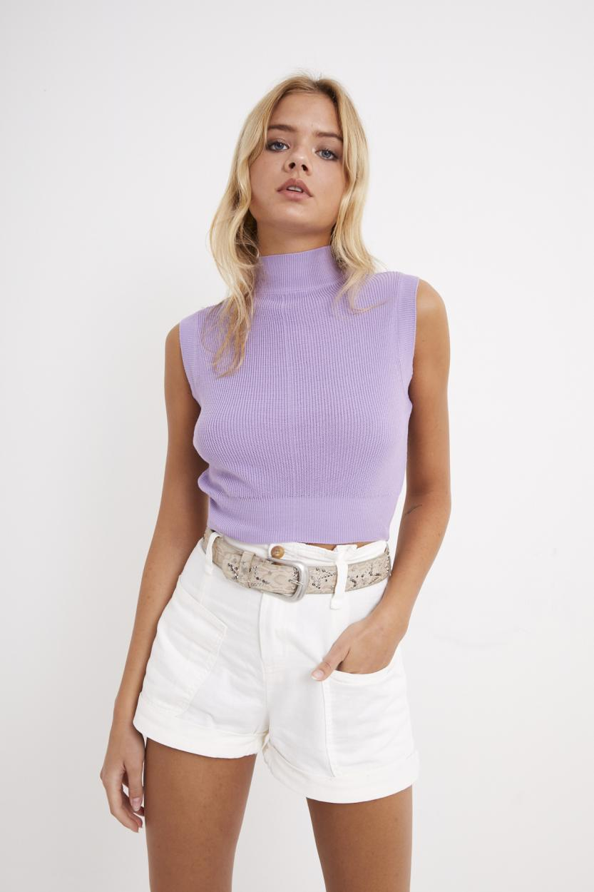 Women's Sleeveless Lilac Tricot Blouse