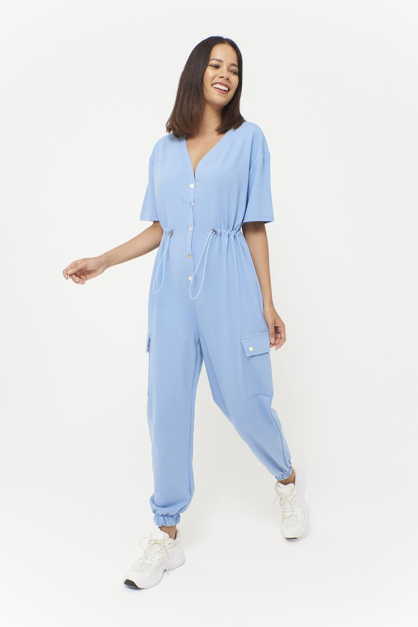 Women's Pocket Snap Button Blue Overall