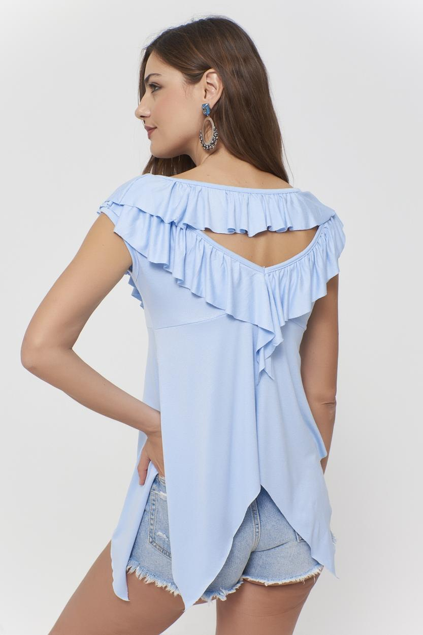 Women's Back Detail Blue Asymmetric Blouse