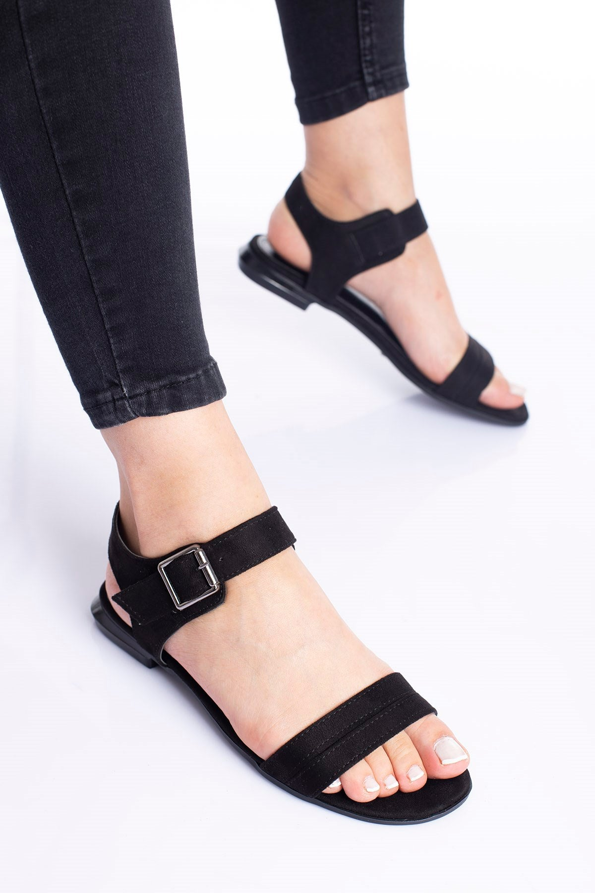 Women's Black Suede Flat Sandals