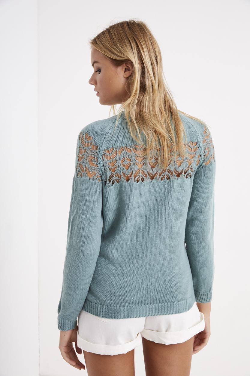 Women's Mint Blue Hemstitch Sweater