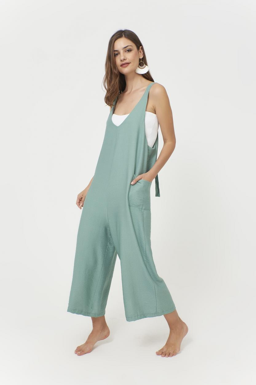 Women's Pocket Shabby Mint Green Overall