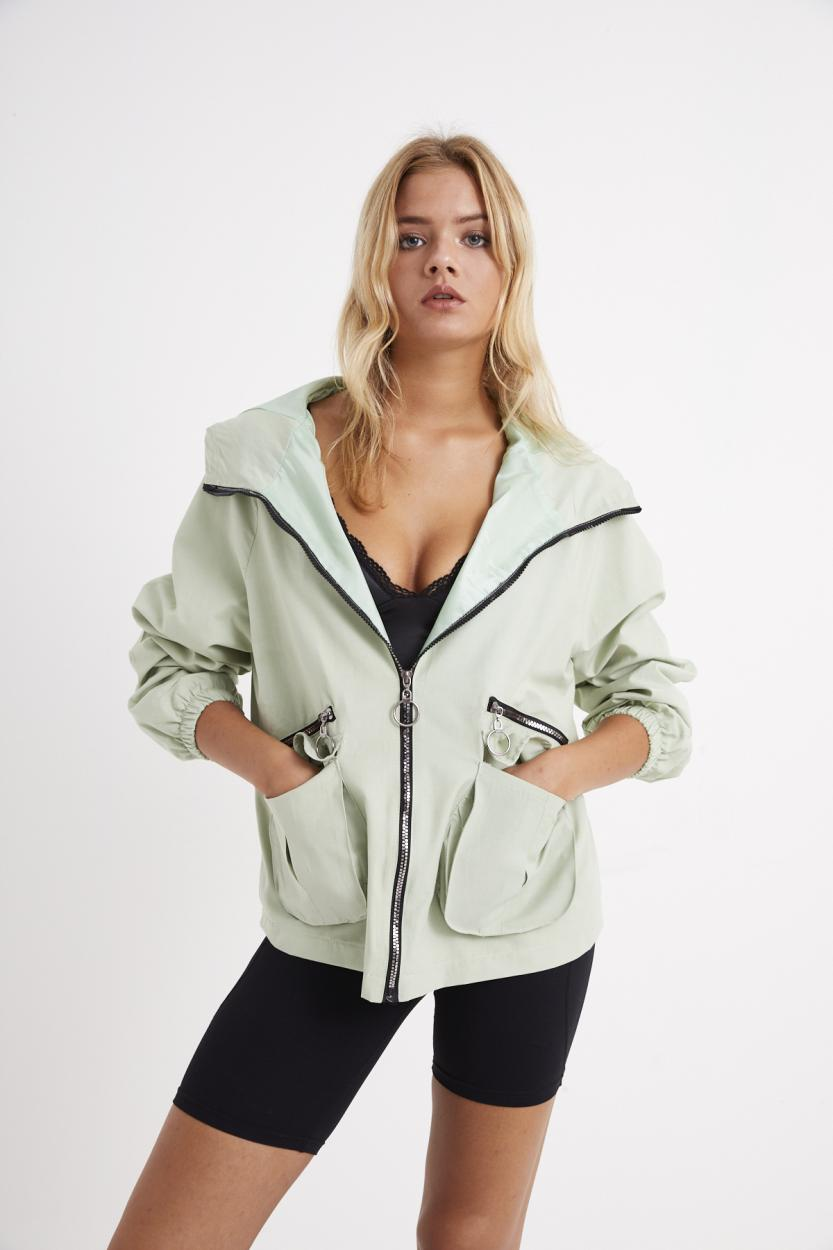 Women's Hooded Mint Green Trenchcoat