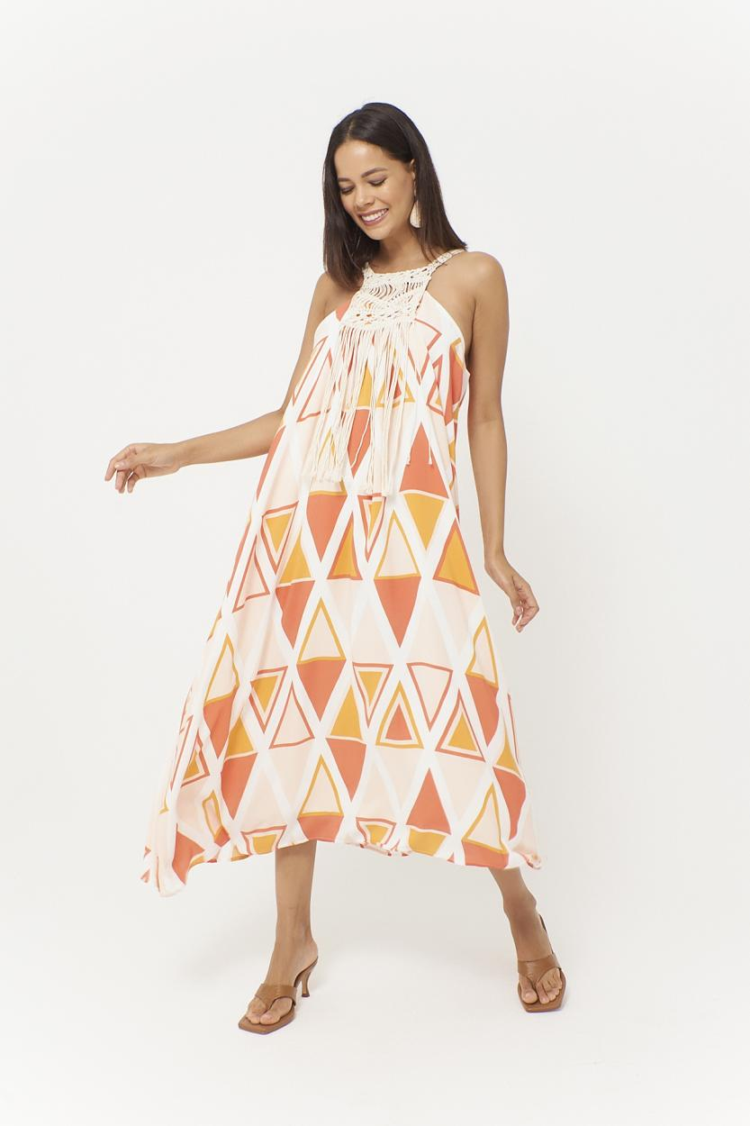 Women's Sleeveless Patterned Midi Dress