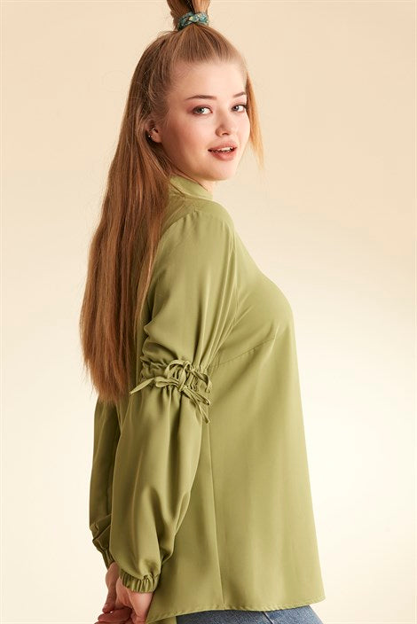 Women's Shirred Sleeves Green Blouse