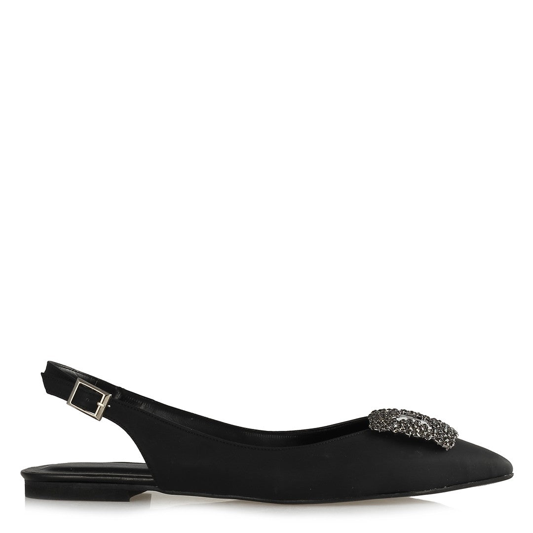 Women's Gemmed Black Slingback Shoes
