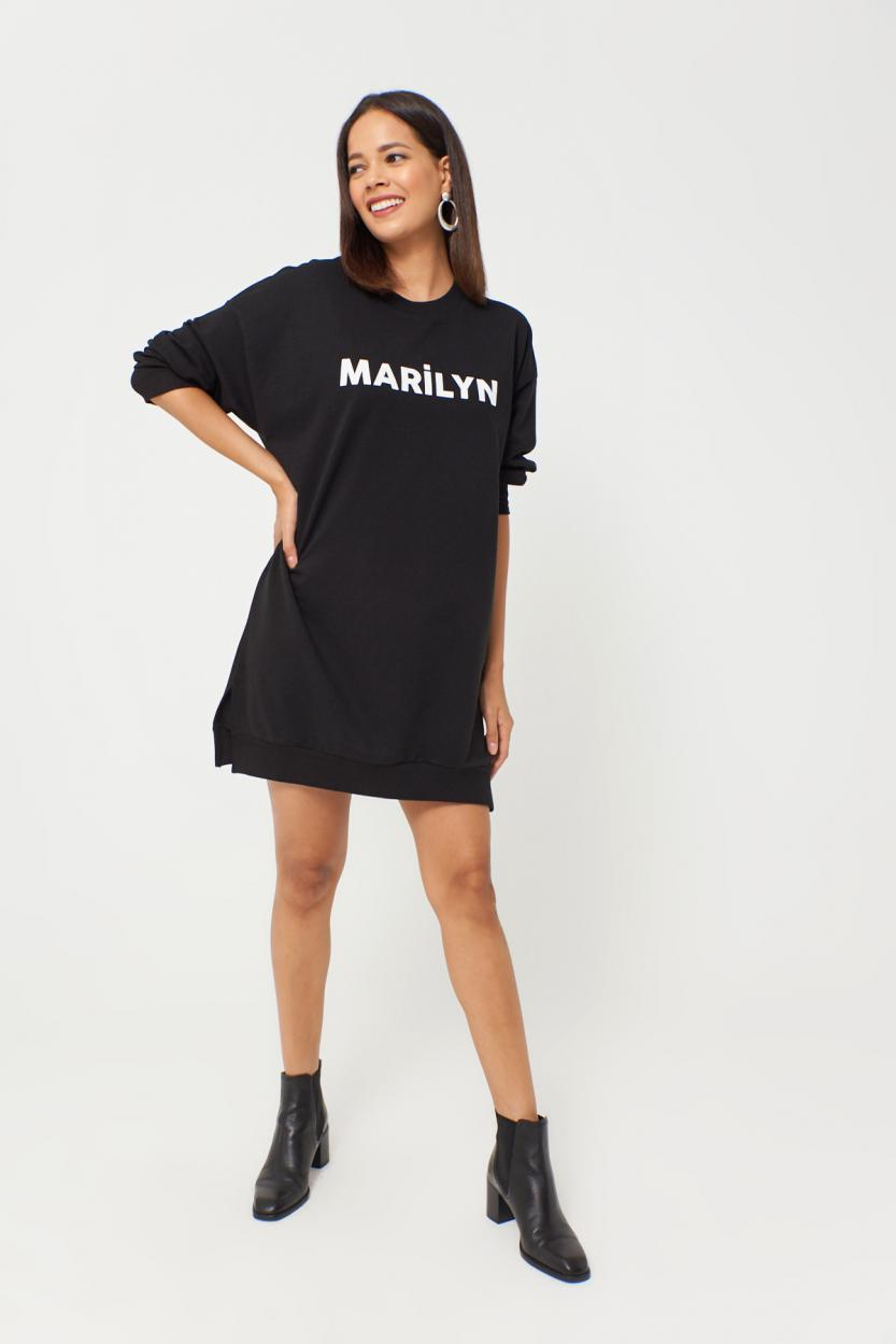 Women's Printed Black Sweat Dress