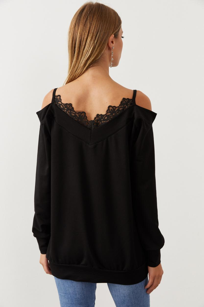 Women's Lace Detail Black Sweatshirt