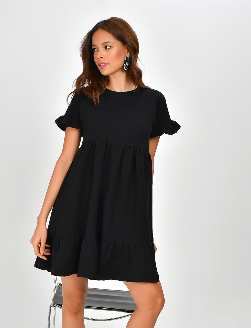 Women's Crew Neck Ruffle Hem Black Short Dress