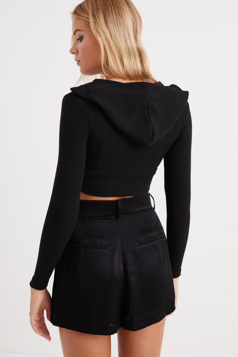 Women's Hooded Black Rib Crop Blouse