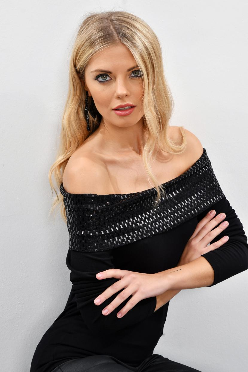 Women's Off Shoulders Sequin Black Blouse