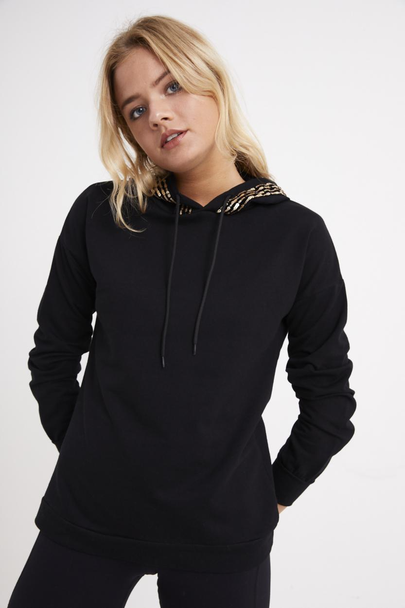 Women's Sequin Hooded Black Sweatshirt