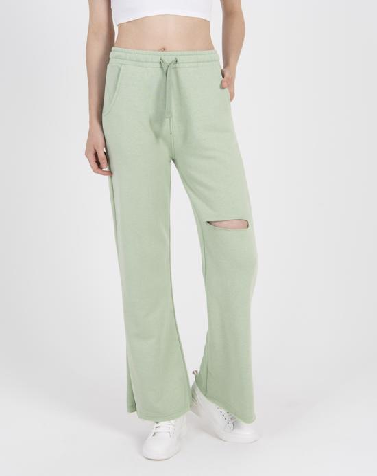 Women's Ripped Knee Light Green Sport Pants